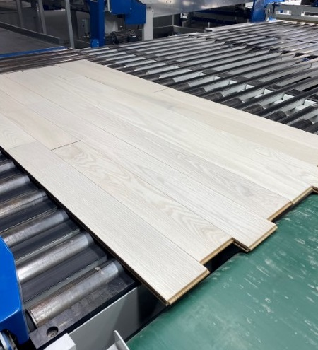 photo of frost hardwood flooring in our hardwood finish factory from our Rangeley collection