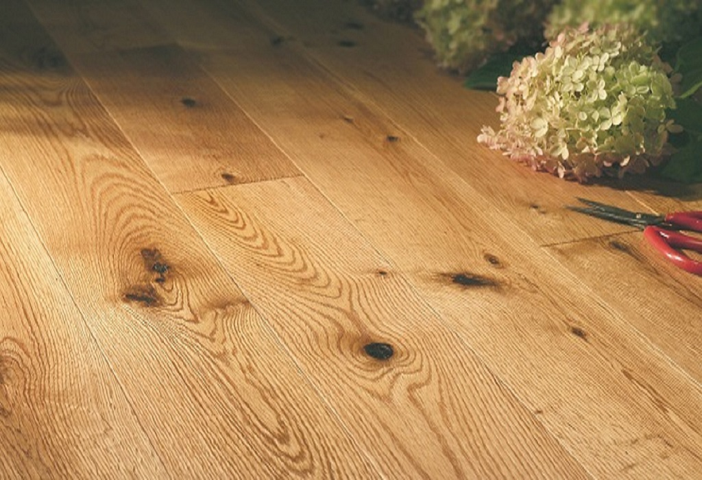 """photo of 5"""" Red Oak Livesawn Clear hardwood flooring from our Rangeley collection"""
