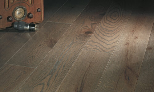 "photo of 5"" Red Oak Livesawn Driftwood hardwood flooring from our Rangeley collection"