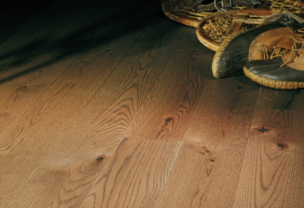 """photo of 5"""" Red Oak Livesawn Fawn hardwood flooring from our Rangeley collection"""