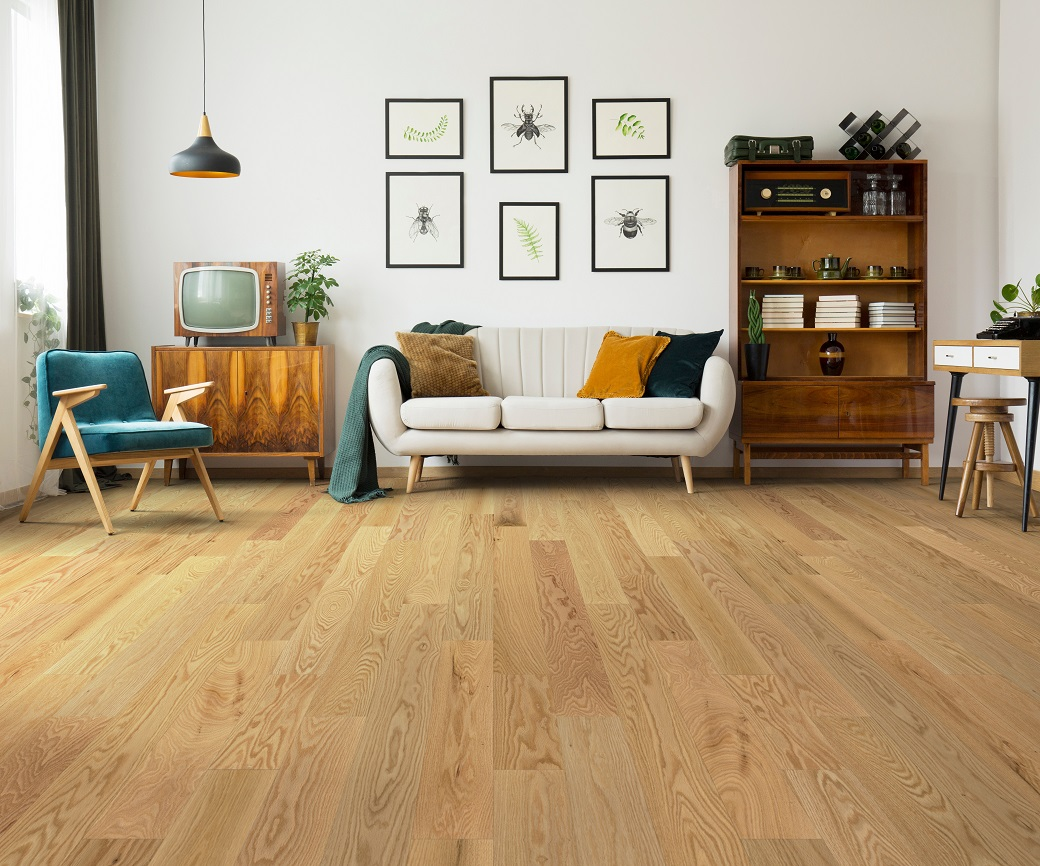 """photo of Engineered 5"""" Red Oak Premium Grade Clear Finish hardwood flooring from our Freeport collection"""