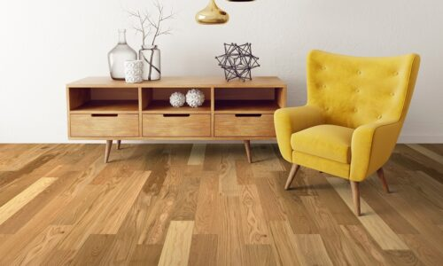 """photo of Engineered 5"""" White Oak Coastal Grade Clear Finish hardwood flooring from our Freeport collection"""